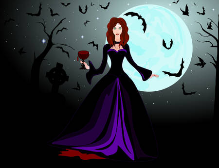 Vampire female character with cup of blood. Halloween vector background