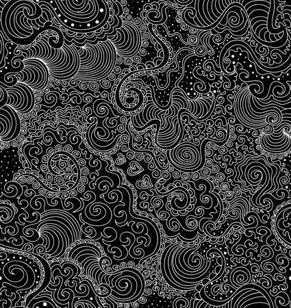 Schöne dekorative Zier endlos Textur mit Curling Linien, Herz, bezifferten Spitzen-Formen, Blumen, kritzelt Standard-Bild - 66582122