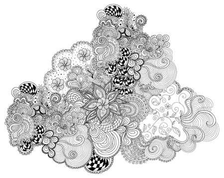 Abstract vector dekorativen Ornament mit Blumen, gemustert Formen und Curling interlaced Linien Standard-Bild - 66438070