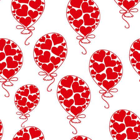 Nahtloses Muster des lustigen schönen Vektors mit Spielzeugballonen von roten Herzen Standard-Bild - 66435472