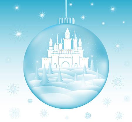 Glückliches neues Jahr und frohe Weihnachten Vektor-Illustration mit schönen gefrorenen Schloss in einem Schneeball und Schneeflocken Standard-Bild - 66435821