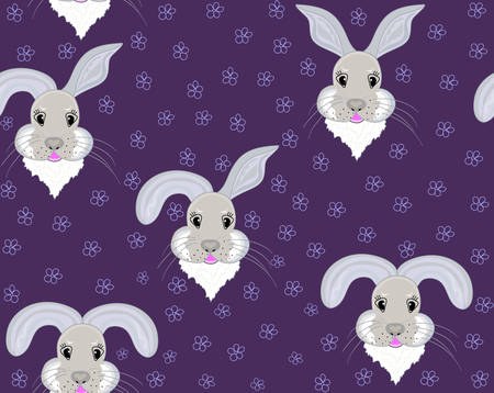 Funny childish seamless pattern with smiling bunny faces and handwritten flowers Illustration