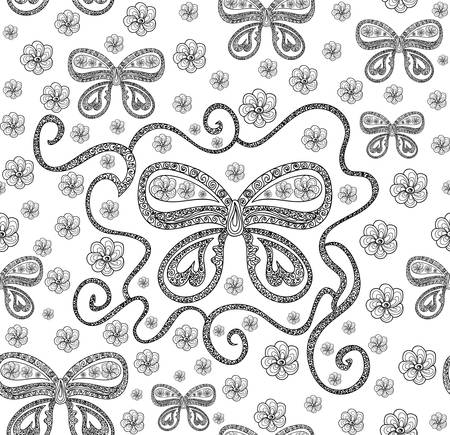 Beautiful floral seamless pattern with butterflies, curling lines and flowers Illustration