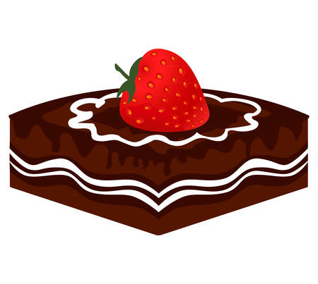 Slice of chocolate cake with strawberry Illustration