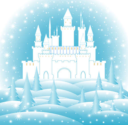dwell: Enchanted castle in frozen forest. Happy New Year and Merry Christmas illustration