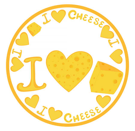 Food cheese illustration with handwritten phrase I love cheese, cheese hearts and cheese slices