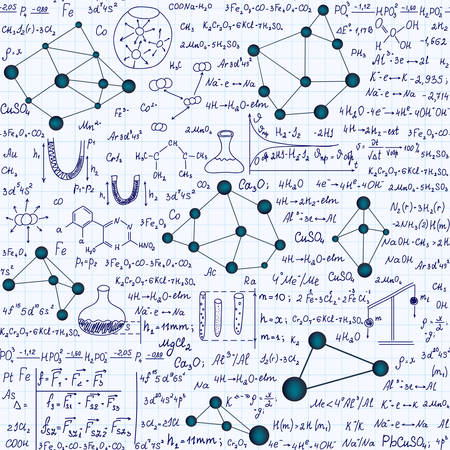 Chemistry  educational endless seamless pattern with formulas, plots and equations, handwritten on a grid copybook paper Illustration