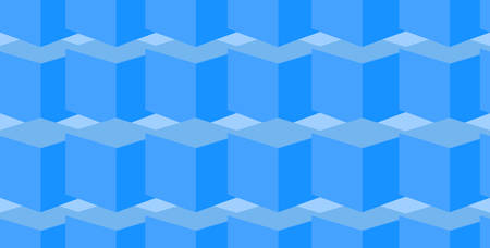 geometrical endless seamless pattern with blue cubes Illustration