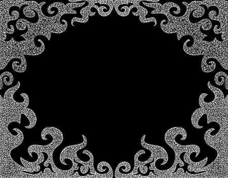 Abstract  black and white decorative frame with curling figured shapes