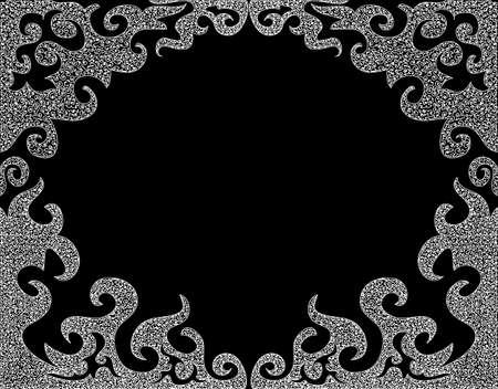 Zusammenfassung schwarzen und weißen dekorativen Rahmen mit Curling dachte Formen Standard-Bild - 65863899