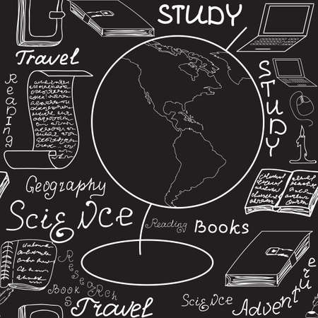 Scientific educational  seamless endless texture with globe, books, copybooks, words and letters Illustration