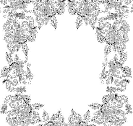 Beautiful abstract decorative frame with curling ornaments