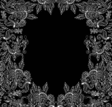 Schöne dekorative Rahmen mit Spitzen-Curling-floralen Ornamenten Standard-Bild - 65863904