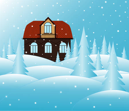 snowbank: brick house and snowy landscape. You can use it as a Christmas illustration or Happy New Year background Illustration