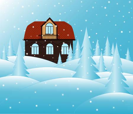 Ziegelhaus und verschneiten Landschaft. Sie können es als Weihnachtsabbildung oder Frohes Neues Jahr Hintergrund verwenden Standard-Bild - 65864035