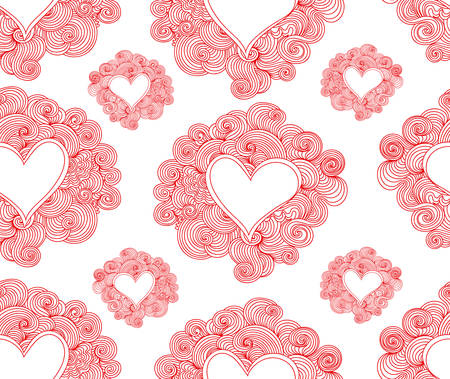 Abstract seamless pattern with hearts and curling lines