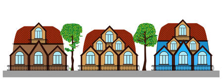Vector street with trees and three beautiful multicolored houses