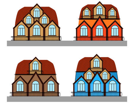 Beautiful set of multicolored vector houses Illustration