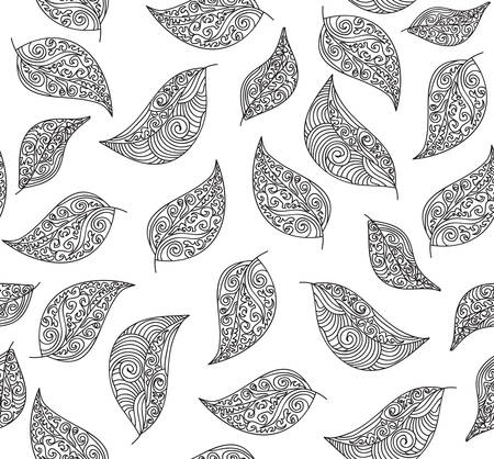 Autumn vector seamless pattern with figured lacy leaves
