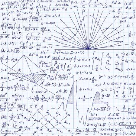 Math Bildungs ??Vektor nahtlose Muster mit Formeln, Gleichungen und geometrischen Figuren, handgeschrieben auf Raster Schreibheft Papier. Endlose mathematische Textur Standard-Bild - 66456943