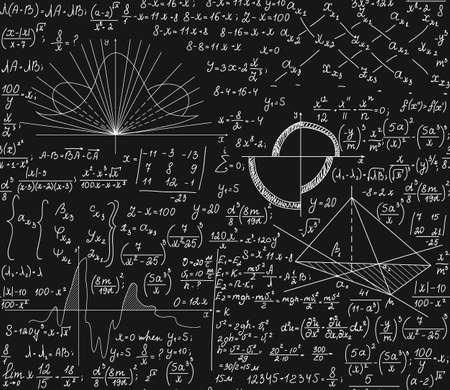 Math vector naadloze patroon met wiskundige formules, technisch onderzoek, plots, vergelijkingen, berekeningen