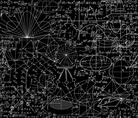 Beautiful vector mathematical vector seamless pattern with geometrical figures, formulas and equations, shuffled together. You can use any color of background Illustration