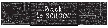 """Grau Vektor Schultafel mit Kreide physikalischen und mathematischen Formeln, Gleichungen, Zahlen und handgeschriebenem Text """"Back to school"""" Standard-Bild - 66460651"""