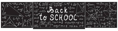 Grey vector school blackboard with chalk physical and mathematical formulas, equations, figures and handwritten text Back to school Illustration