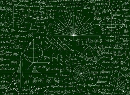Mathematical vector scientific technical seamless pattern with handwritten formulas, calculations, equations on a green background Illustration