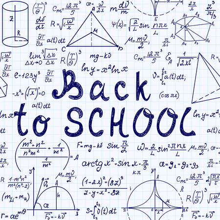 Math vector seamless pattern with handwritten text Back to school, mathematical formulas, figures, calculations and equations