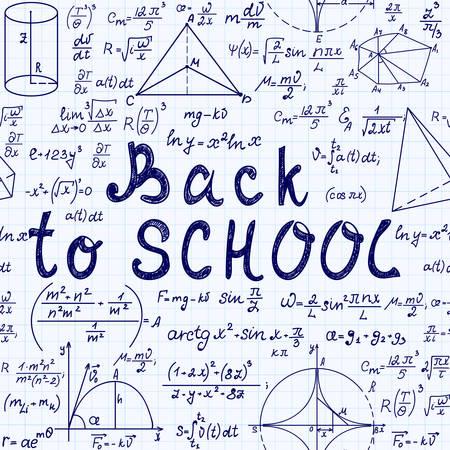Math vector seamless pattern with handwritten text