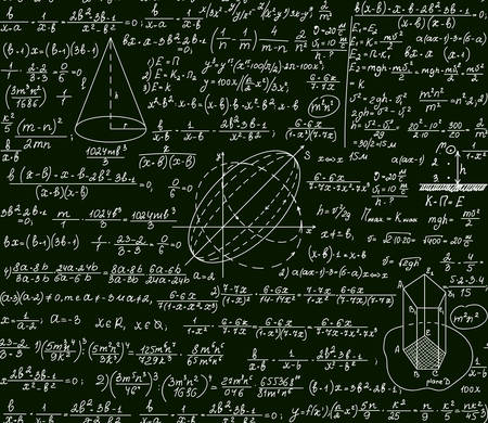 derivative: Math vector scientific technical seamless pattern with handwritten formulas, calculations, plots, signs, equations on a green background