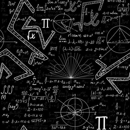 Scientific vector seamless endless texture with mathematical signs, figures and formulas, handwritten with chalk on blackboard 向量圖像