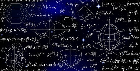 Scientific math endless texture with formulas on a starry space sky
