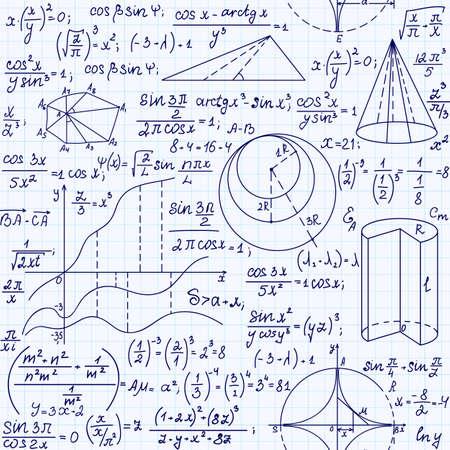 Math Bildungs ??Vektor nahtlose Muster mit handgeschriebener Formeln, Zahlen und Gleichungen Standard-Bild - 66454786