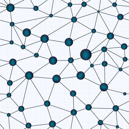 Chemistry molecular vector seamless texture illustrating crystal lattice Illustration