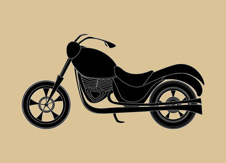 Vector motorcycle icon, transport background, handdrawn on the old grey paper effect Illustration