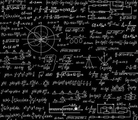 Physikalische wissenschaftliche Vektor nahtlose Muster mit Formeln, Gleichungen der Erforschung und Figuren, handschriftlich mit Kreide auf einem grauen Bord nahtlose Design Standard-Bild - 66460155