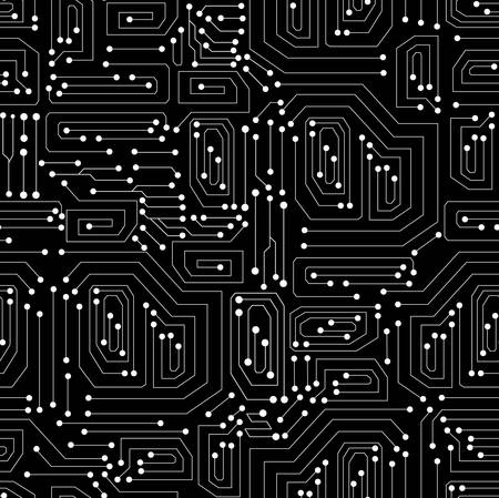 Technical vector seamless pattern with circuit board