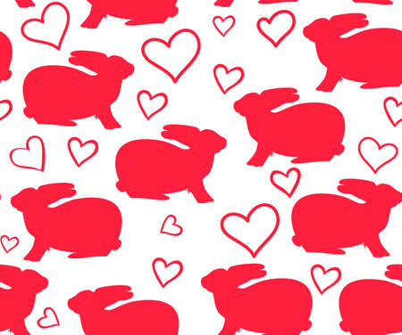 Beautiful vector seamless pattern with bunnies and hearts. You can use it as Valentines card or invitation Illustration