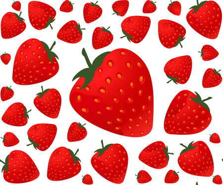 Colorful food and drink vector seamless pattern with strawberries