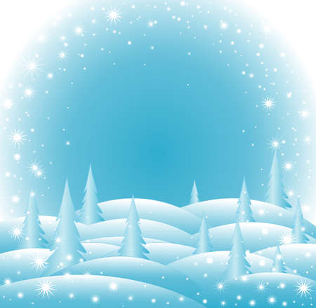 Vector icy Happy New Year and Merry Christmas background with snowflakes