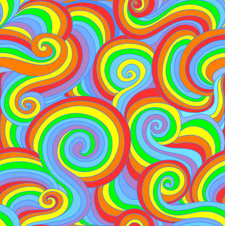 Beautiful colorful vector seamless pattern with curling lines in rainbow colors