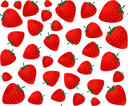 Food and drink vector seamless pattern with strawberries