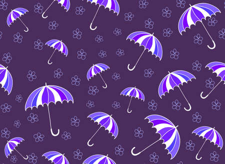 Colorful summer vector seamless pattern with umbrellas and handwritten flowers