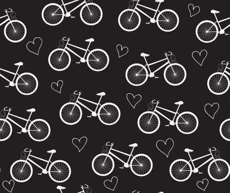 Vector seamless pattern with bikes and hearts, chalk on blackboard effect