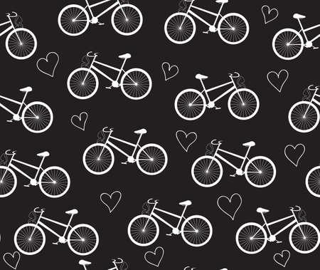 """Vektor nahtlose Muster mit Fahrrädern und Herzen, """"Kreide auf Tafel-Effekt"""" Standard-Bild - 66458751"""
