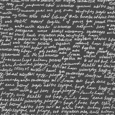 Abstract vector endless seamless texture with handwritten text, words and letters, chalk on grey board effect Illustration