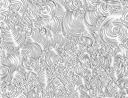 Abstract beautiful vector seamless pattern with decorative curling ornaments, lines, doodles, hand drawn with chalk effect Illustration