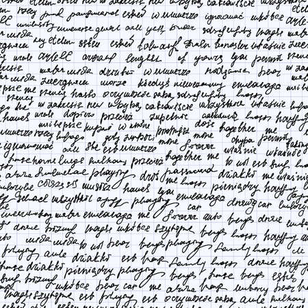 grid paper: Abstract vector endless seamless texture with handwritten text, words and letters, handwritten on a grid paper